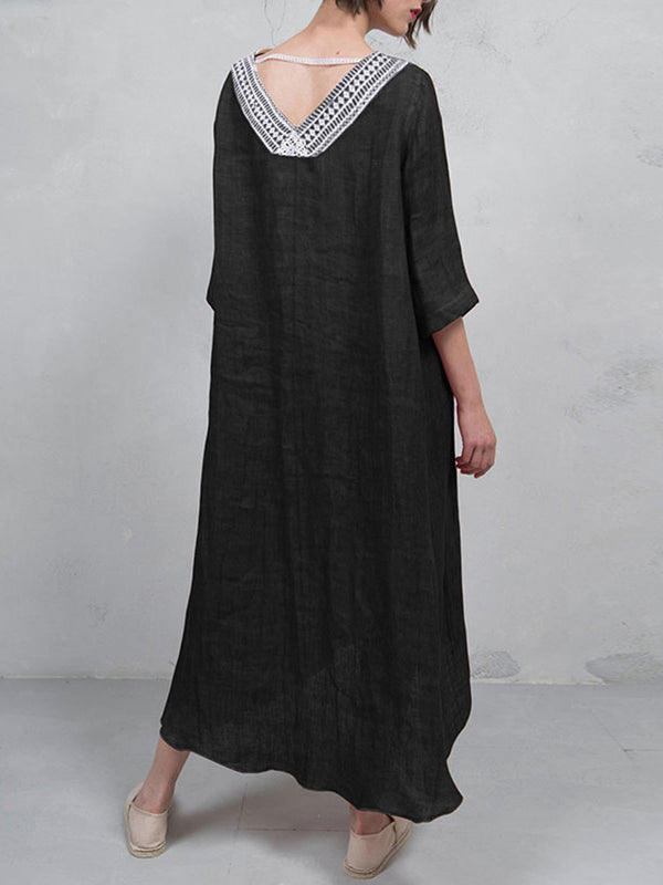 Asymmetric Tribal V Neck Casual Dress