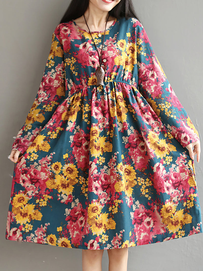 Swing Linen Paneled Floral Casual Dress