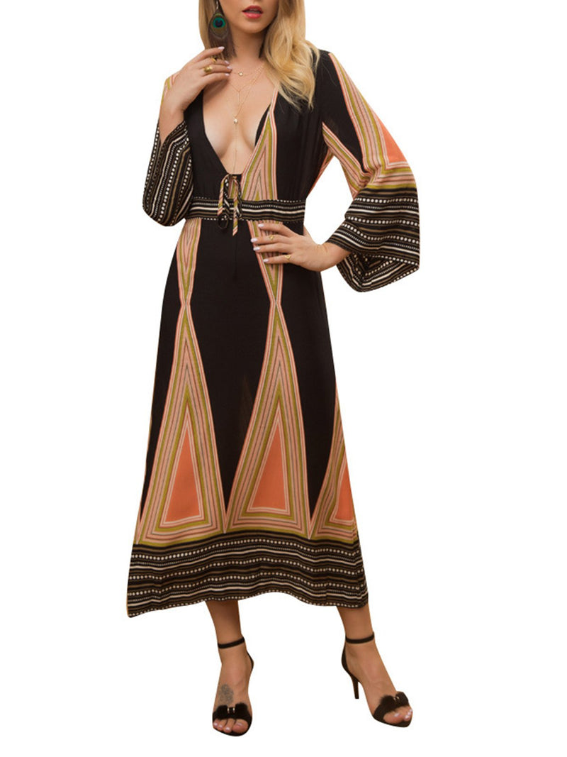V Neck Black Women Summer Dresses Daily Elegant Geometric Dresses
