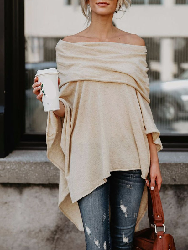 Asymmetrical Off Shoulders Bat Sleeves T-Shirt
