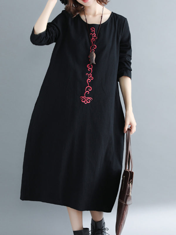 Embroidered Crew Neck Long Sleeve Shift Dresses
