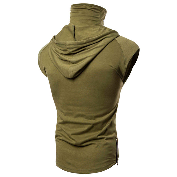 Stretch Fitness Men's Ninja Suit Hooded Sleeveless T-Shirt Call of Duty ghost Mask