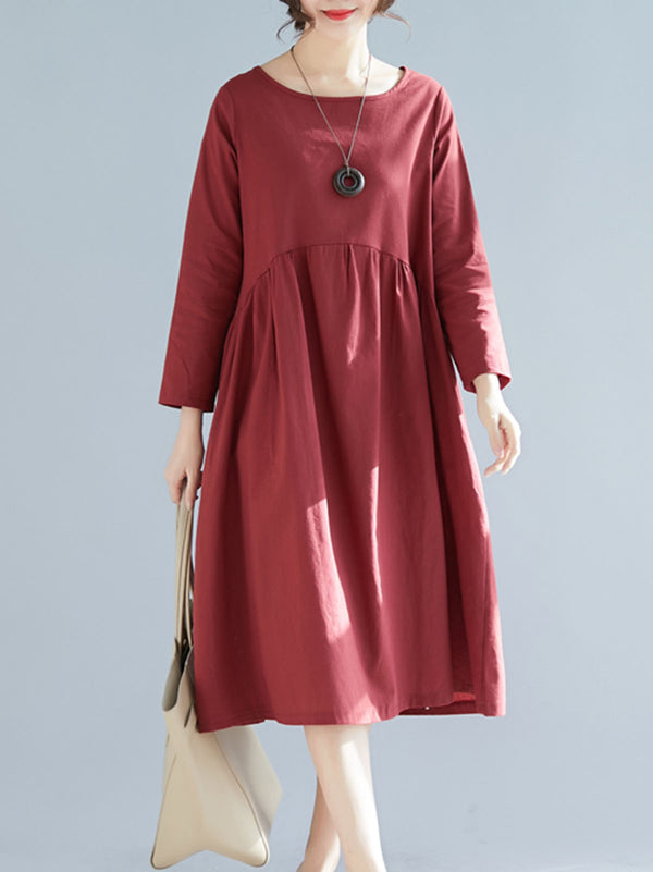 Crew Neck Shift Casual Solid Dress