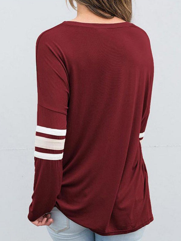 Casual Long Sleeve Crew Neck Letter T-Shirt
