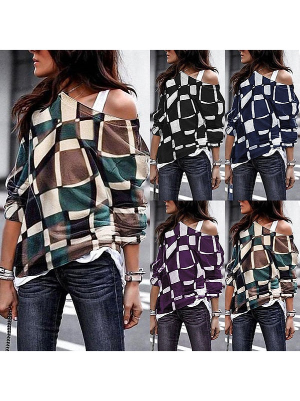 Long Sleeve Vintage Geometric Cotton T-Shirts