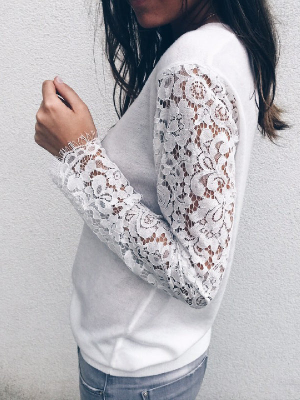Long Sleeve Sexy Lace V Neck Cardigans