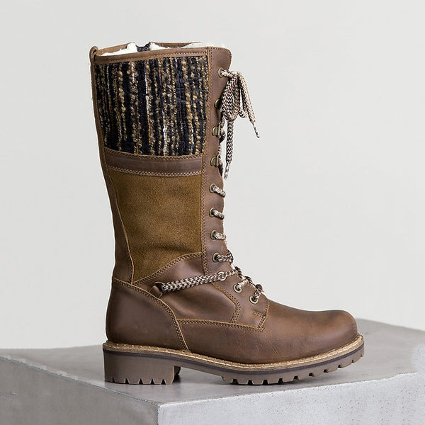 Waterproof Knitted Fabric Paneled Casual Mid-calf Warm Boots