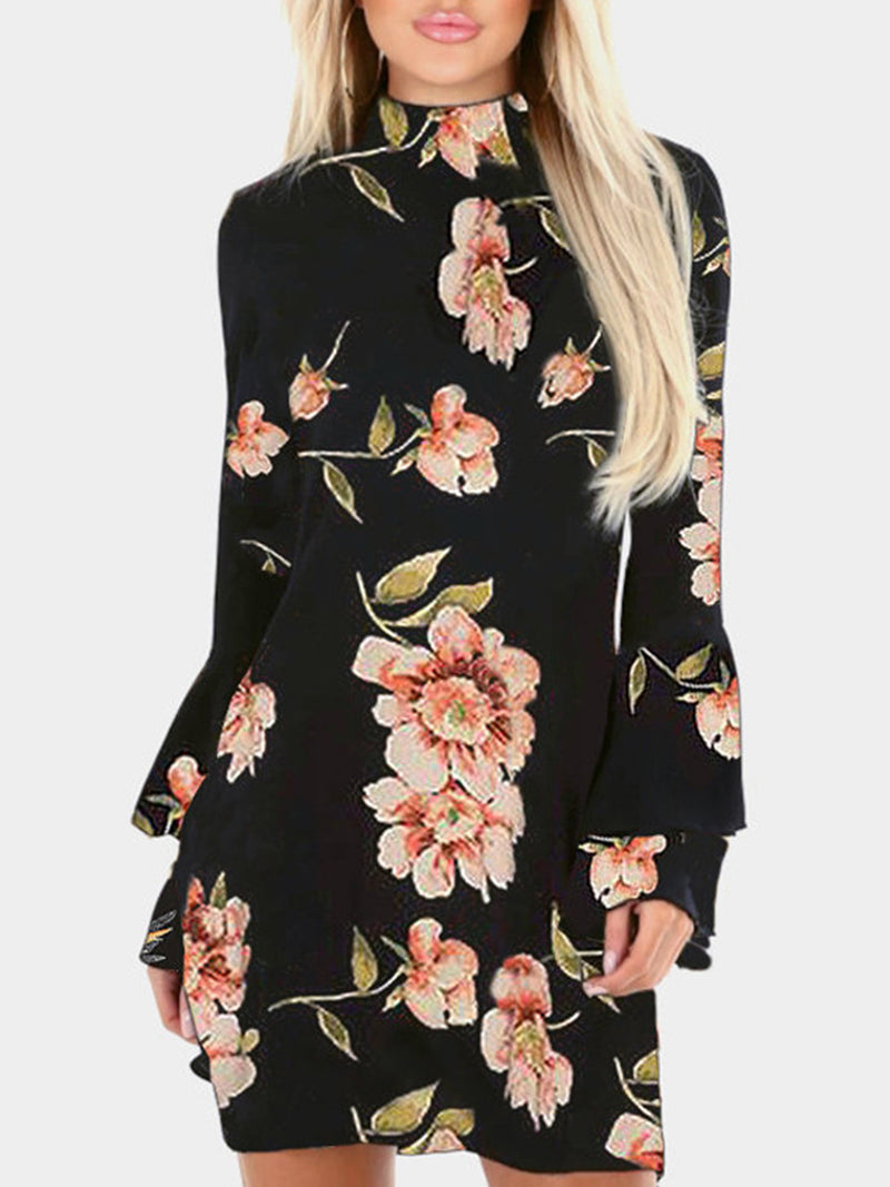 Floral Print Perkins Collar Flared Sleeves Mini Dress
