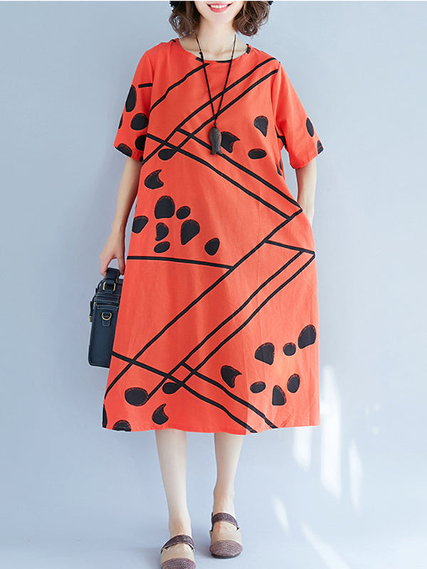 Women Shift Casual Geometric Crew Neck Dress