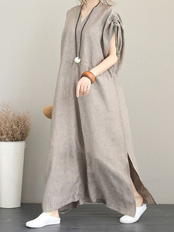 Apricot Gathered Short Sleeve Slit Dress