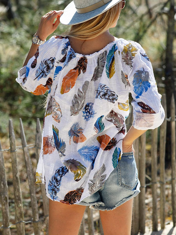 Long Sleeve Printed V Neck Blouse