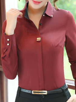 Long Sleeve Buttoned Shirt Collar Formal Blouse