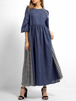 Crew Neck Plus Size Daytime Denim Striped Maxi Dresses