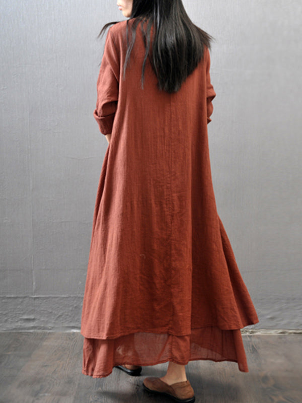 Plus Size Asymmetrical Daily 3/4 Sleeve Casual Linen Dress