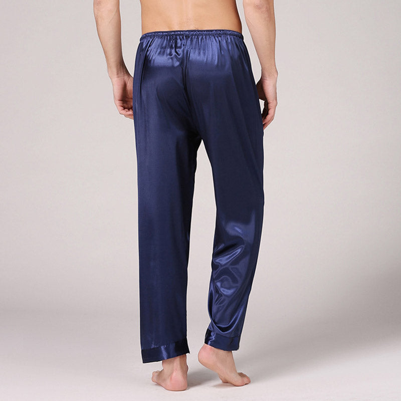 Men's Solid Color Silk Pajamas Summer Breathable Long Pants