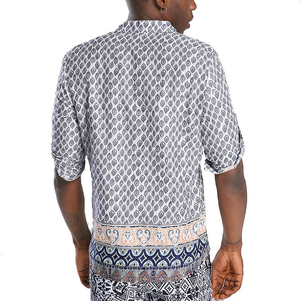 Ethnic Style Printed T-shirts Men's Shorts Sleeve Loose Casual Stand Collar Tops