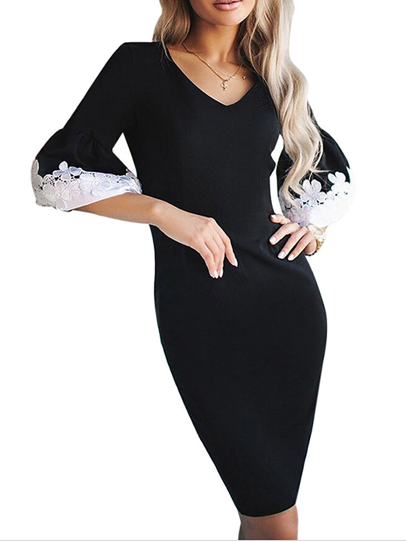 V neck Bodycon Women Balloon Sleeve Paneled Floral Prom Dress