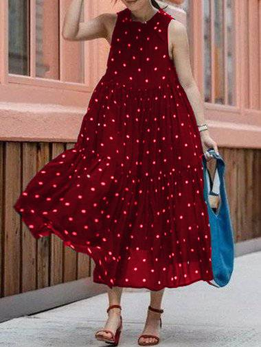 Polka Dots Sleeveless Dresses