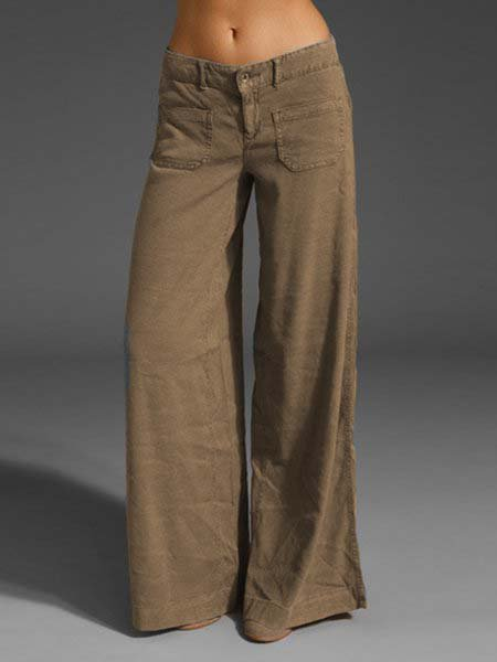 Gray Cotton Plain Casual Pants