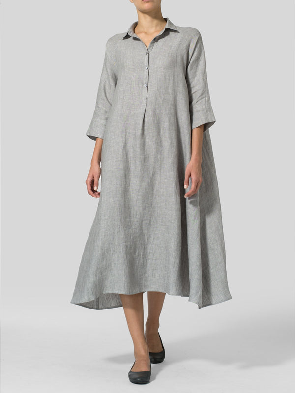 Women's 3/4 Sleeve Linen Shift Casual Dresses