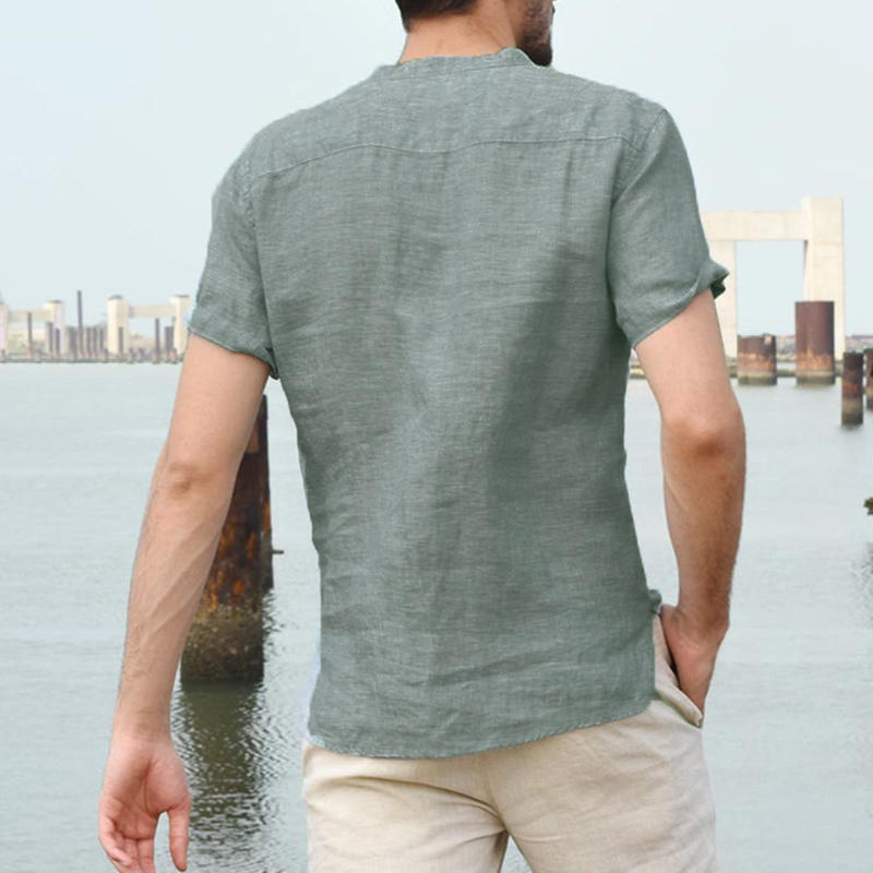 Mens Short Sleeve V Neck Soft Casual Shirt
