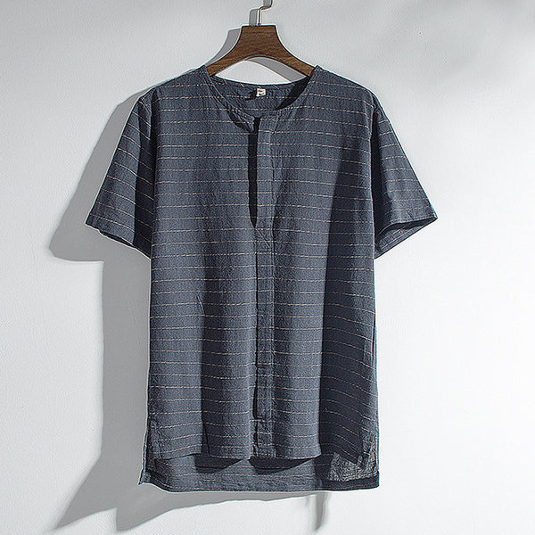Men's Striped Brief T-shirts Summer Breathable Short Sleeve Casual Henley Collar Tees