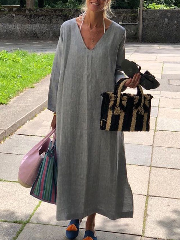 Solid Linen Casual V Neck Dresses