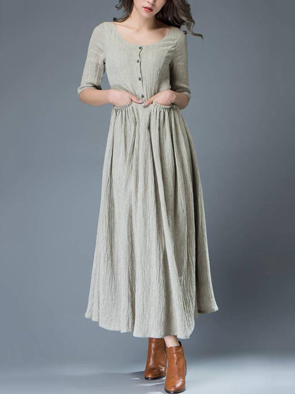 Plus Size Half Sleeve  A-Line Daily Linen Pockets Maxi Dress