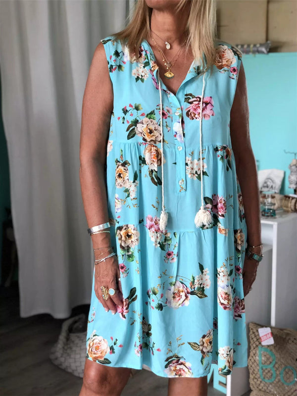 Holiday Floral Printed Sleeveless V-neck Midi Dress