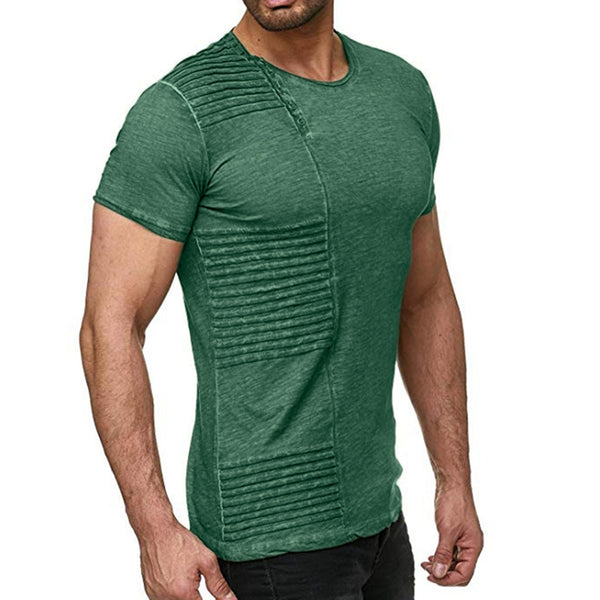 Men's Pleated Button T-Shirt Round Neck Solid Color Short Sleeve Tops