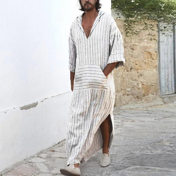 Men's Loose Long Shirt Casual Pocket Striped Yarn-dyed Trench Coat