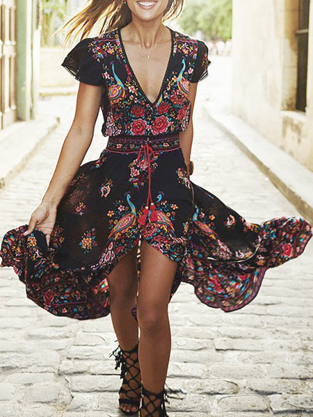 V neck Daily Short Sleeve Paneled Floral Dress
