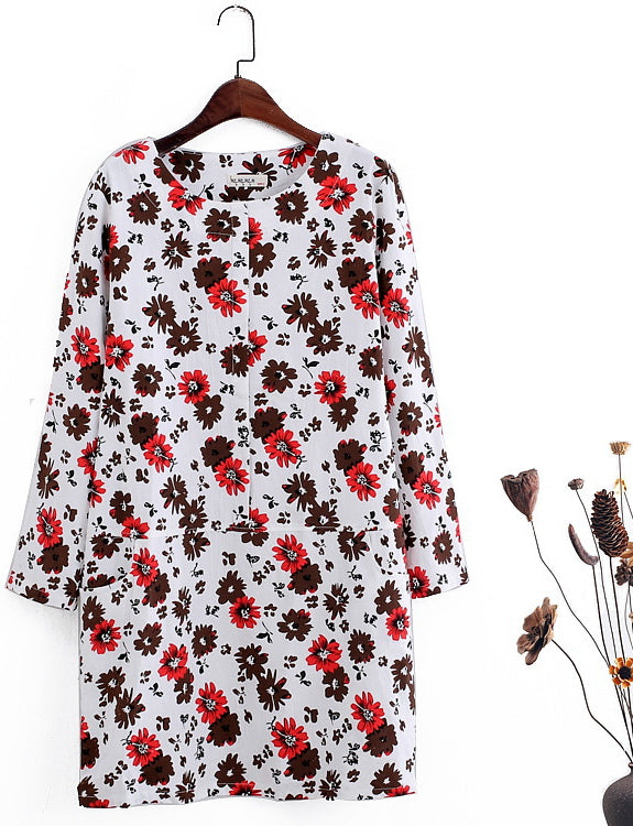 Women Long Sleeve Casual Cotton Solid Dresses