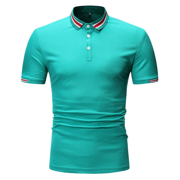 Men's Splicing Comfort POLO Shirts Summer Solid Colors Short Sleeve Casual Tops