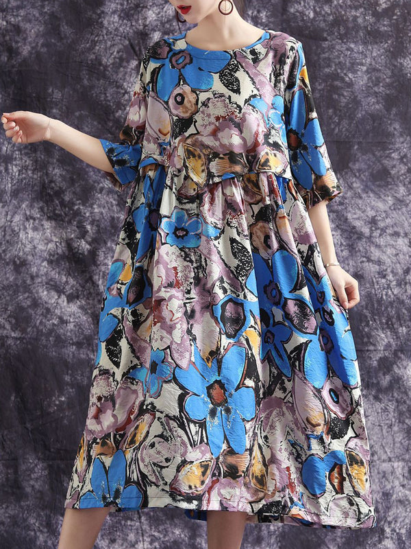 Summer 3/4 Sleeve Shift Daily Casual Floral Printed Maxi Linen Dress