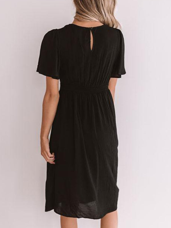 Black Casual Short Sleeve Dresses for Womens