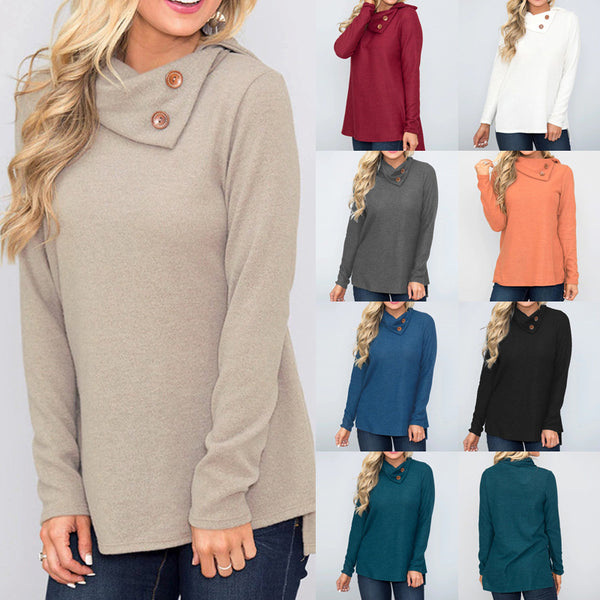 Allamela Cowl Neck Solid Long Sleeve Pullover Tops