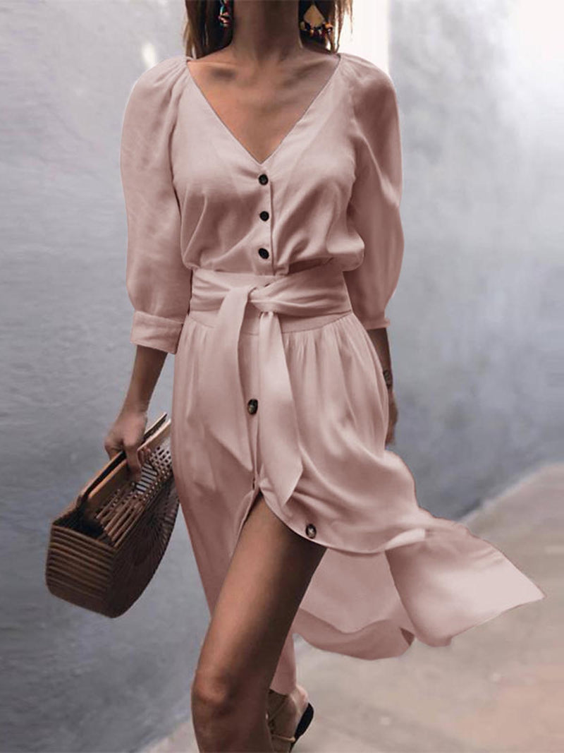 Women V Neck Buttoned Elegant Plus Size Dress