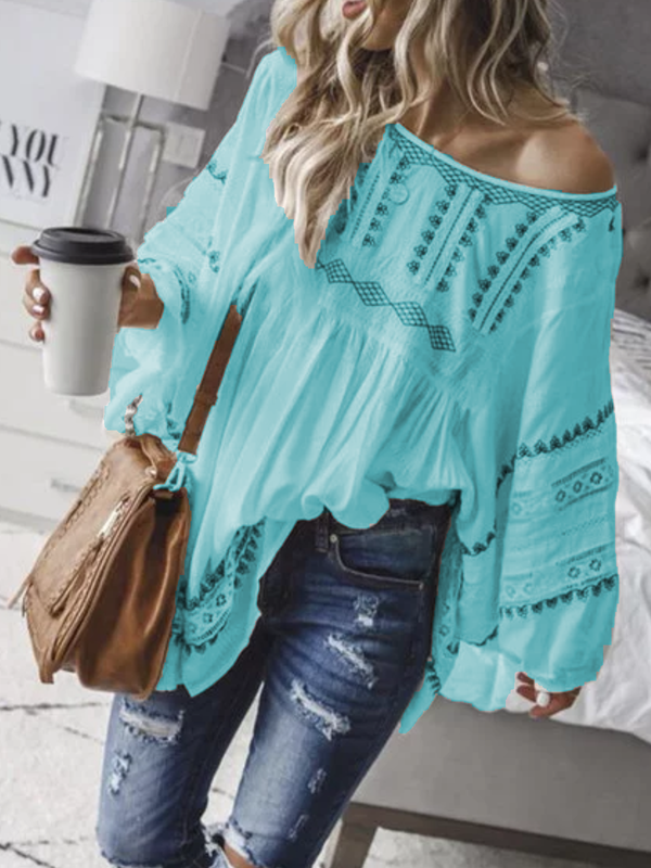 Off Shoulder Sexy Patchwork Cotton-Blend Shirts & Tops