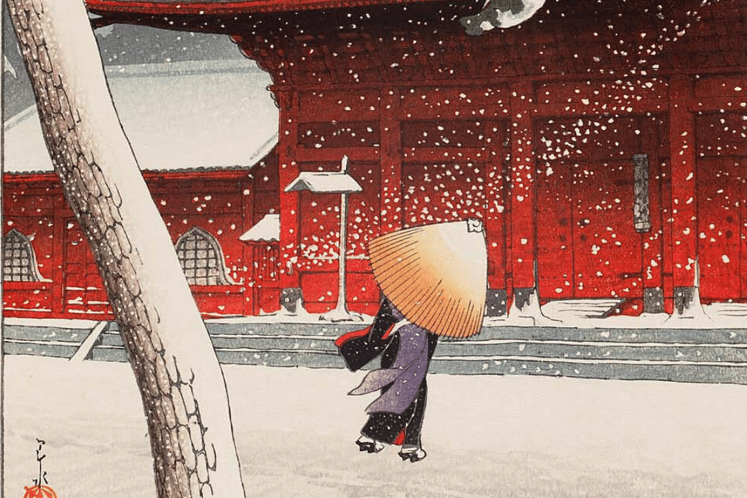 Snow at Zojoji Temple - by Kawase Hasui (1925)