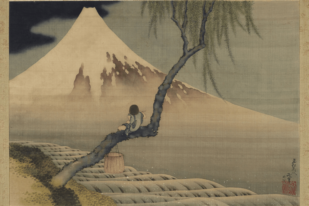 Mount Fuji and Fisher boy by Hokusai