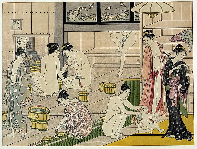 Bathhouse women - Interior of a Bathhouse by Torii Kiyonaga (1787)