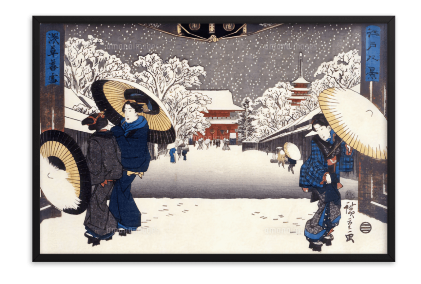 Evening Snow at Asakusa by Hiroshige