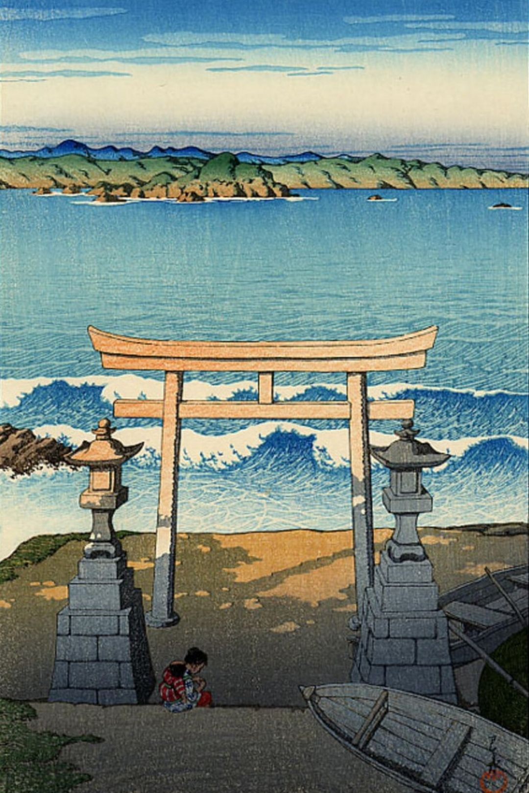 Pacific Ocean - Boshu - by Kawase Hasui - buy fine art print
