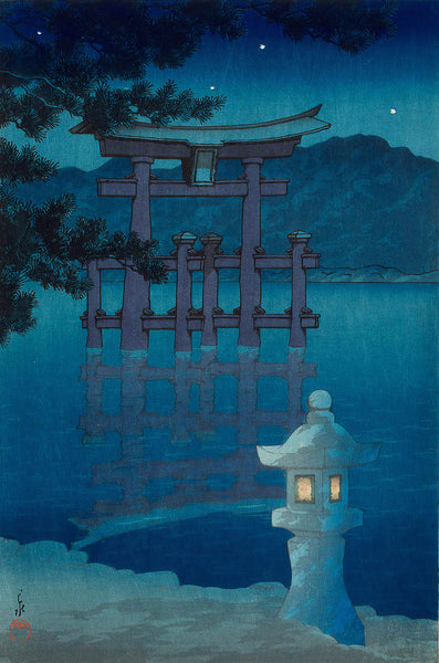 Starry Night at Miyajima Shrine (1928) by Kawase Hasui