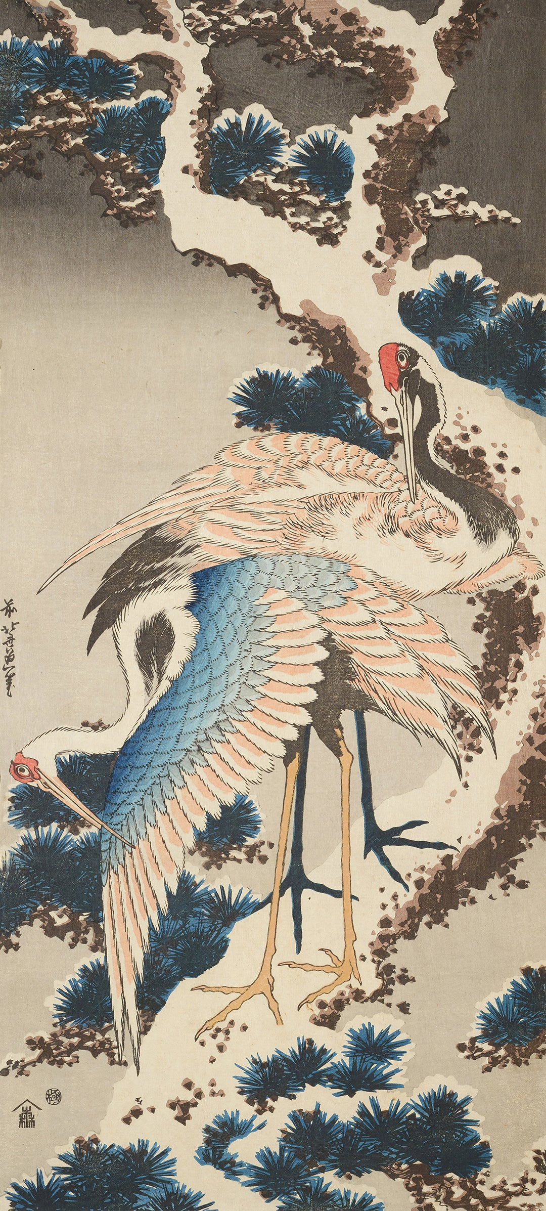 Cranes on a Snow Covered Pine Tree (1834) by Hokusai