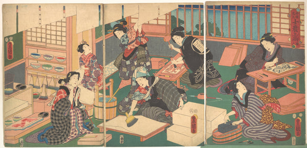 """Artisans (a group of women in a workshop producing woodblock prints)"" from the series A Parody of the Four Social Classes - Kunisada, 1857"