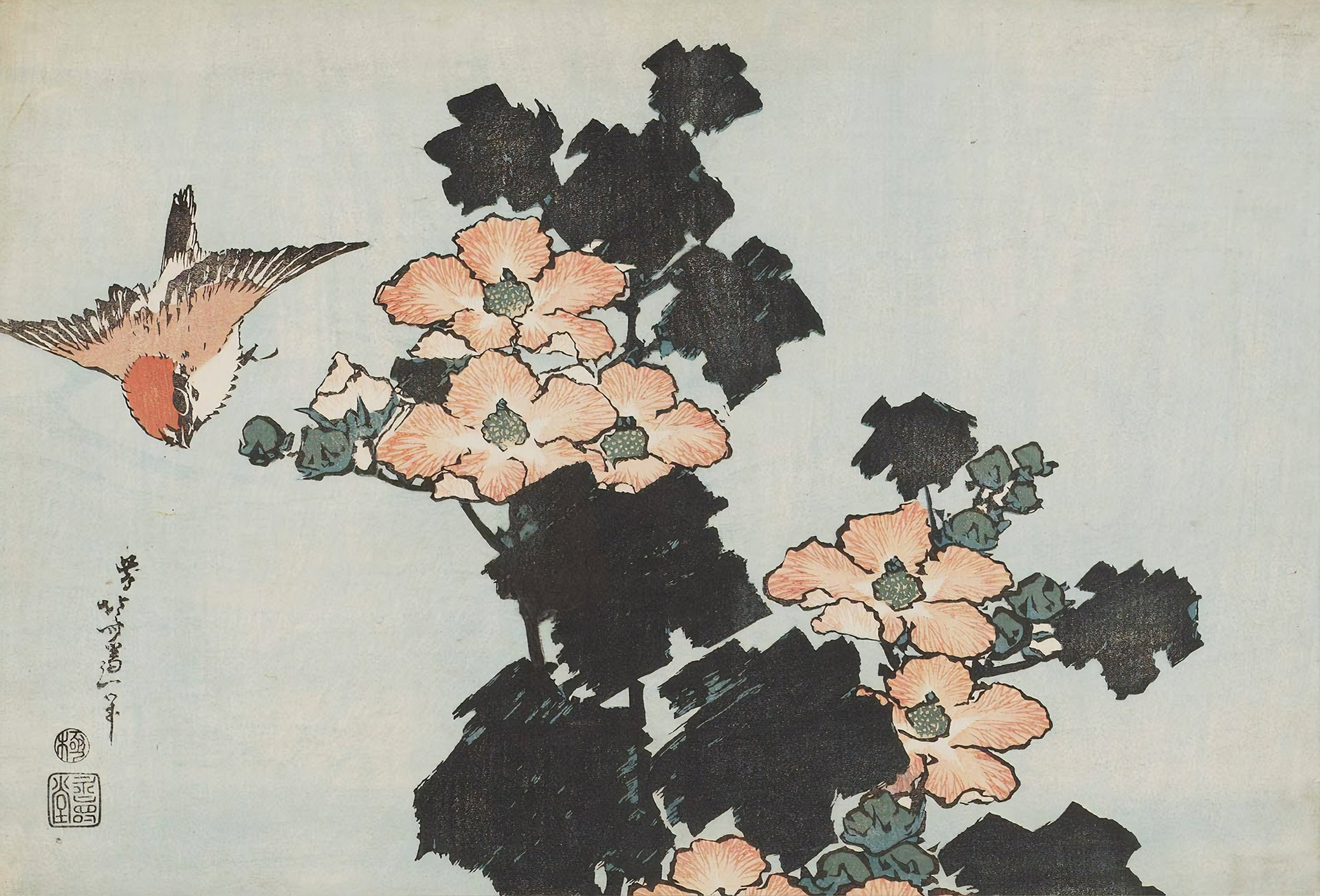 Hibiscus and Sparrow (1833) by Hokusai