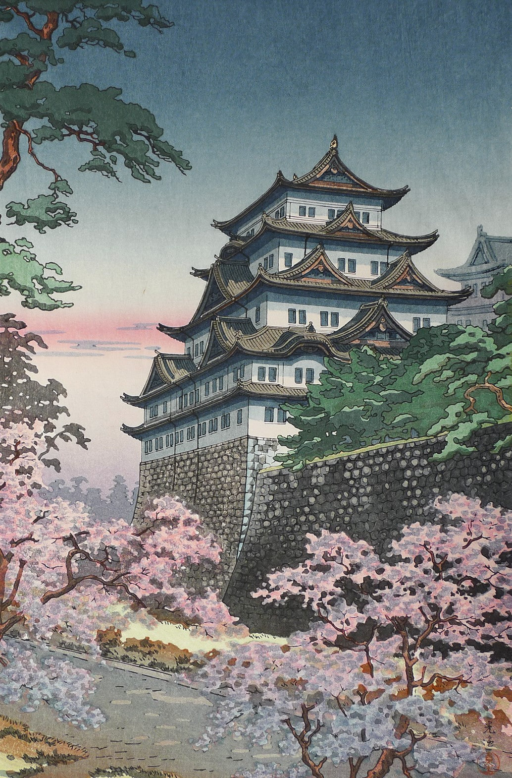 Delving into the Secrets of Japanese Castles with Cherry Blossoms at Nagoya Castle (1937) by Tsuchiya Koitsu
