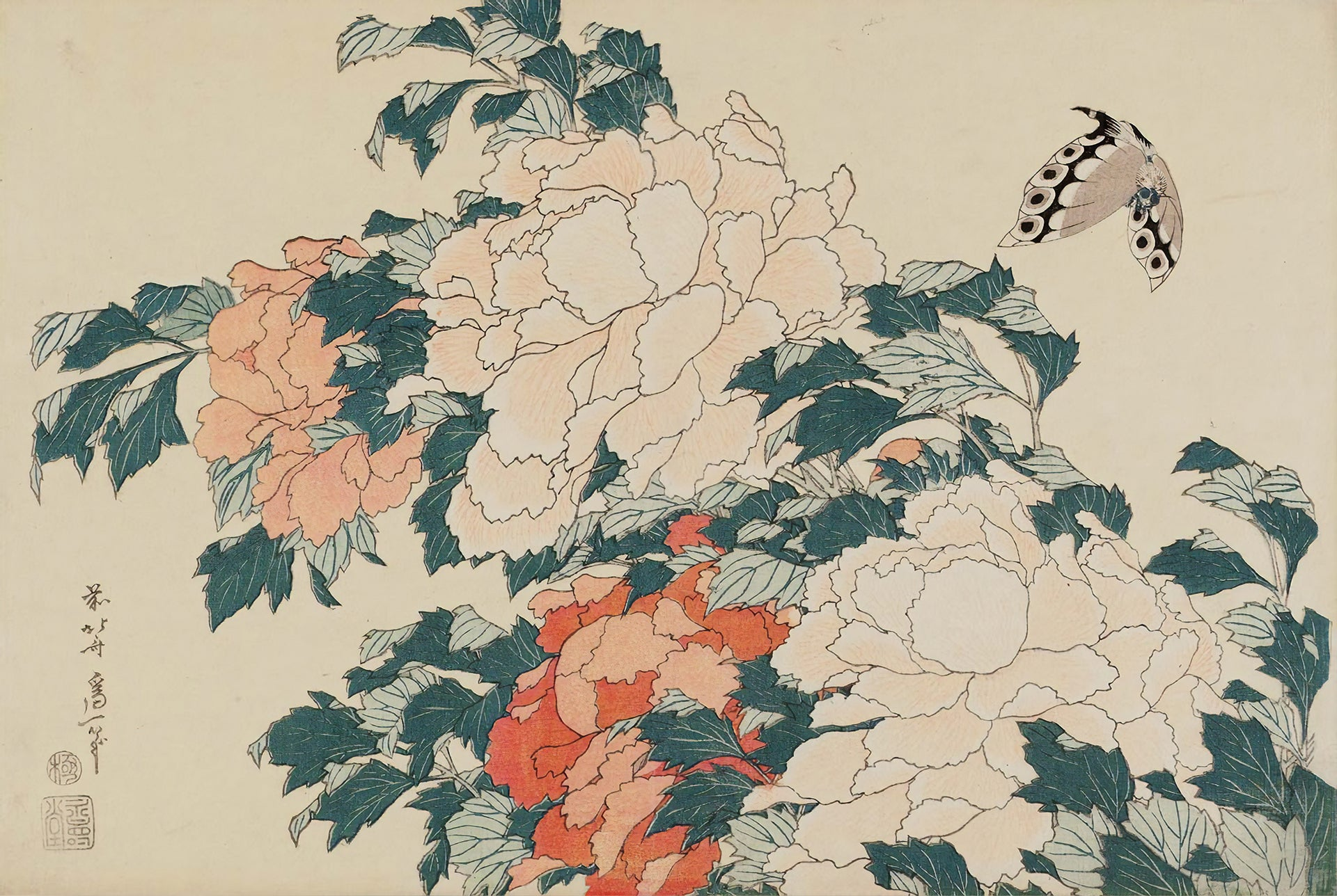 Peonies and Butterfly (1830-1831) by Hokusai